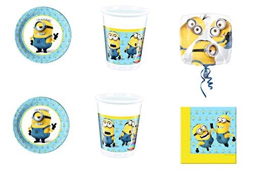 CDC-Kit N ° 32Fête et Party moi moche et méchant Minions-(16assiettes, 16gobelets, 20serviettes, 1ballon Foil)
