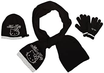 Hello Kitty Girl's Hat, Scarf and Glove Set Black 54 cm