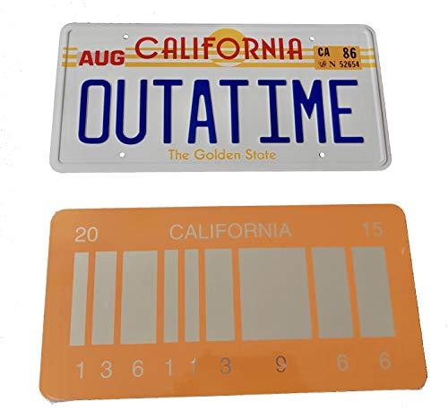 (Super6props Outatime Zurück in die Zukunft 1 Prop Nummernschild und zurück in die Zukunft 2 Mirrored 2015 Barcode Nummernschild, wie auf Marty McFly und Doc Browns DMC-12 Delorean gesehen)