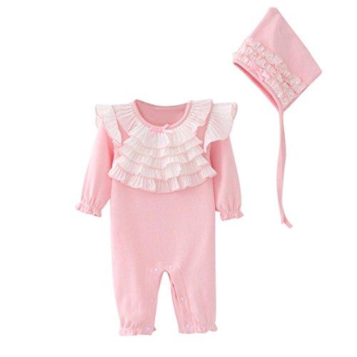 Bekleidung Longra Neugeborenes Baby Mädchen Spitze Strampler Bodysuit Jumpsuit Kleidung Set + Mütze Hüte Baby Langarm Overall Spielanzug Babykleidung (0-18Monate) (80CM 18Monate, Pink)
