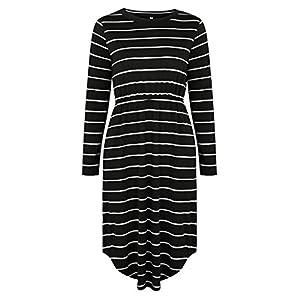 Providethebest Frauen-Mädchen-Rundhalsausschnitt-Streifen Tasche knielangen Kleid-Lange Hülsen-Sommer-Kleid