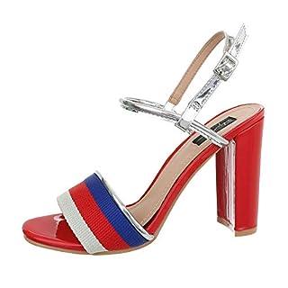 Ital-Design Damenschuhe Sandalen & Sandaletten High Heel Sandaletten Synthetik Rot Multi Gr. 37