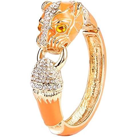 EVER FAITH®femminile cristallo austriaco smalto leopardo cerniera BRACCIALE arancione Gold-Tone - Cerniera Vittoriana