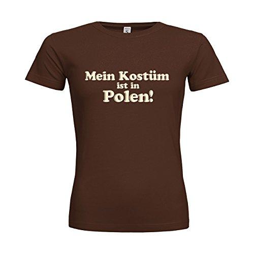 dress-puntos Woman T-Shirt Mein Kostüm ist in Polen! 20drpt15-w00374-265 Textil brown / Motiv beige / Gr. XS (Polen Weihnachten Kostüme)
