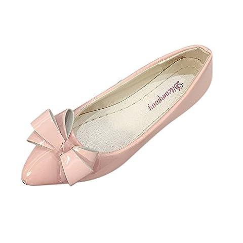 OVERMAL Fashion Orteil Femmes Flats Femme Chaussures Plates Des Ballerines Mesdames (37, Rose)