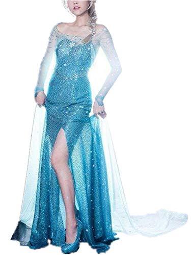 ZQZP TOP Damen Elegante Prinzessin ELSA Kleid mit Warmer Stola Pailletten-Kleid Kostüm Cosplay Kleider