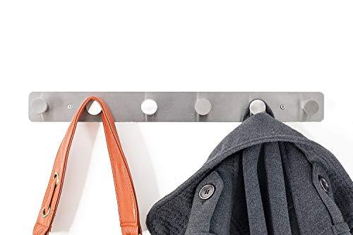 Malin-System - Wandgarderobe (inkl. Schrauben und Dübel) - Garderobenhaken mit 6 runden Haken Wandhaken Mehrzweckhaken