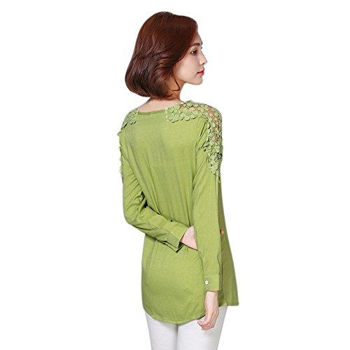 Yalatan Donna floreale Crochet cotone a maniche lunghe Camicia Top Estate Camicetta Camicetta Verde