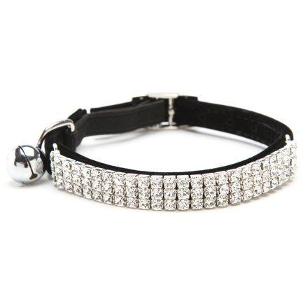 PUPTECK ba3007Weich Samt Sicher Katze verstellbar Diamante Bling Halsband mit Glöckchen
