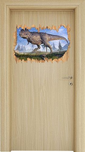 T-Rex Dinosaurier in der Natur Kunst Buntstift Effekt Holzdurchbruch im 3D-Look , Wand- oder...