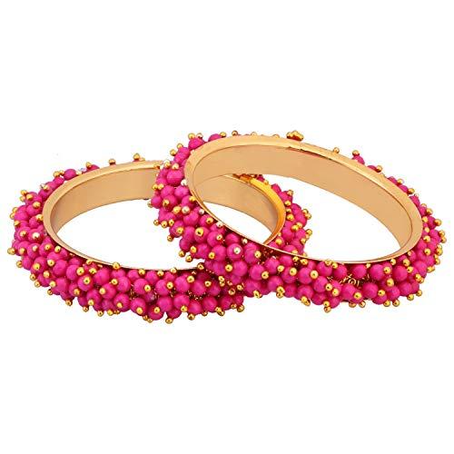 Kostüm Gold Schmuck Plattiert Sets - Efulgenz Modeschmuck Indische Bollywood 14 K Gold plattiert Multicolor Kunstperlen Perlen Hochzeit Braut Armband Armreif (2 Stück)
