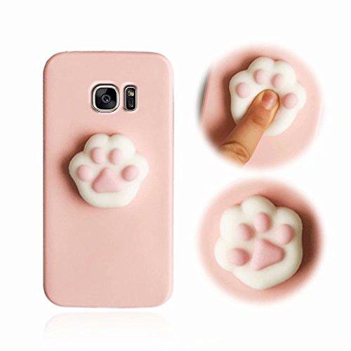 Galaxy S7 Edge Hüllen, MingKun 3D Squeeze Cartoon Cute TPU Silikon Case Cover für Samsung Galaxy S7 Edge Handyhülle Pinch Kneifen Weich Schutzhülle mit Anti-Kratzer Stoßdämpfende Handy Tasche Schale Bumper - Katzenkralle Pink