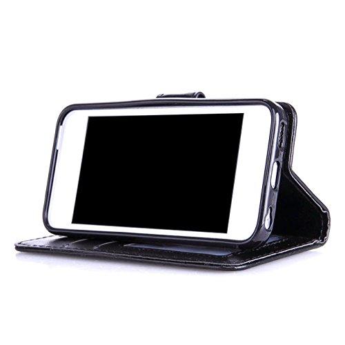 MOONCASE iPhone 5C Coque Pochette Housse en Cuir TPU Case avec Béquille pour Apple iPhone 5C Etui à rabat Portefeuille Porte-cartes Bleu Noir