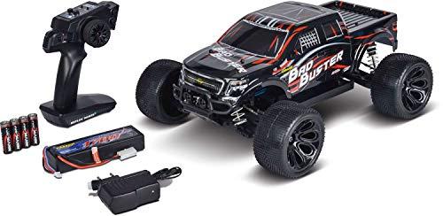 Carson 500402127 500402127-1:10 Bad Buster 4WD X10 2.4G 100{ee4ee0db8323e59e23163fd580d4536af28cee923b05db1d34e61bada2b8dc3e} RTR, Ferngesteuertes Auto, RC-Fahrzeug, inkl. Batterien und Fernsteuerung, 2,4 GHz, schwarz