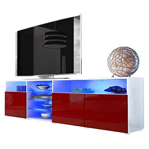 mobile porta tv credenza madia Mozart art. 1719 bianco bordeaux rosso lucido cm. 194