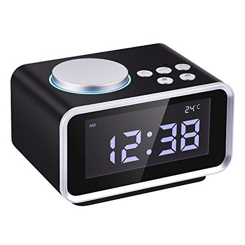 Wecker Digital Funkuhr, BizoeRade FM Radiowecker, Dual-Alarm, Dual USB-Ladeanschluss,Schlummerfunktion, Innenthermometer, 6-stufige Helligkeit, Batterie-Sicherung, LED-Anzeige (Schwarz)