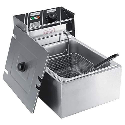 LBSX Friteuse mit Korb, Edelstahl, leicht zu reinigen Friteuse, Öl-Filtration, 6kg, 6L, Silber, Gewerbe Elektro-Catering Küchenmaschinen