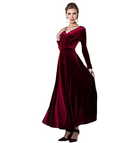 Frauen-elegante Samt-Rüsche-lange Hülsen-Abend-Partei-Ballkleid-Schaukel-langes Maxi Kleid