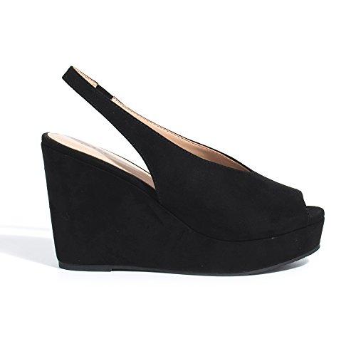 Parfois - Chaussures Sandales Compensé Rouge - Femmes Noir