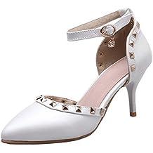 AgeeMi Shoes Donna Luccichio Fibbia Puro Tacco Alto Scarpe A Punta Ballet-Flats