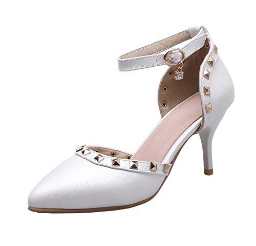 AgeeMi Shoes Mujer PU Puntera EN Punta Sólido Hebilla Tacón Alto de Salón,EuD84 Blanco 39