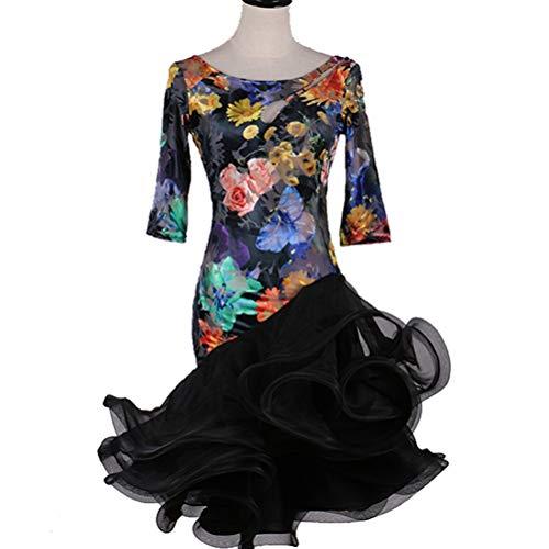 HAOBAO Frauen/Erwachsene Mode Print Latin Dance Kleider Aushöhlen Zurück Bandage Trikot Rumba Cha Cha Tanz Elastischer Tutu Rock Performance Kostüm, S