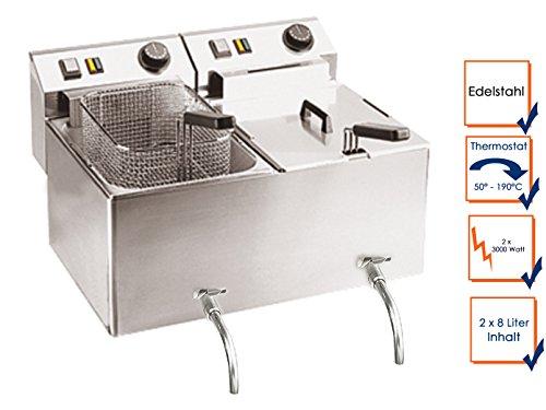 Profi Doppel-Fritteuse mit Ablasshahn, Edelstahl, 2 x 8 Liter, 6000W, 50-190°C; FE-77V GGG