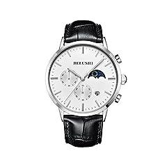 Idea Regalo - Uomo Business in acciaio INOX analogico al quarzo vestito orologio da polso cronografo calendario impermeabile luminosa luna orologio frase argento bianco del quadrante orologi per gli uomini