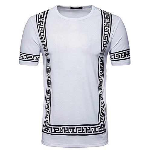 Herren Kurzarm Drucken Pullover Fitness T-Shirt Business Muskelshirt Einfarbig Rundhals Shirt Training Gym Sommer Casual Slim Fit Bluse für Männer Sweatshirt - Männer V-neck Pullover Muster