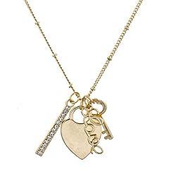 Idea Regalo - Lux Accessories dorato V Day Key to your heart cluster collana fascino