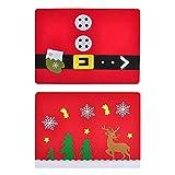 Toyvian 2 stücke Weihnachten Tischset Vliesstoffe Tischset für Weihnachtsfeierbedarf (Handschuh Style + Fawn Style)