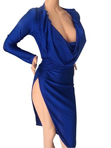 QIYUN.Z Mode Mädchen Königsblau Sexy Falten Tiefen V-Ausschnitt Seiten Split Party Club Minikleid Damen Kleid Jumpsuit Overall Blau