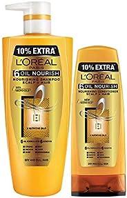 L'Oreal Paris 6 Oil Nourish Shampoo & Conditioner, 704ml + 192.5ml (896.5ml) (Pa