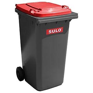 SULO Mülltonne Müllbehälter 2 Rad MGB ***80 Liter grau mit rotem Deckel***