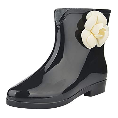 SoonerQuicker Unisex-Erwachsene Boots Damen Regenstiefel Wedges Short Tube Regenstiefel Rutschfeste wasserdichte Wasserschuhe Schwarz 39 -
