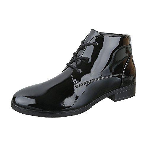 Chelsea Boots Damen Schuhe Chelsea Boots Blockabsatz Schnürer Schnürsenkel Ital-Design Stiefeletten Schwarz