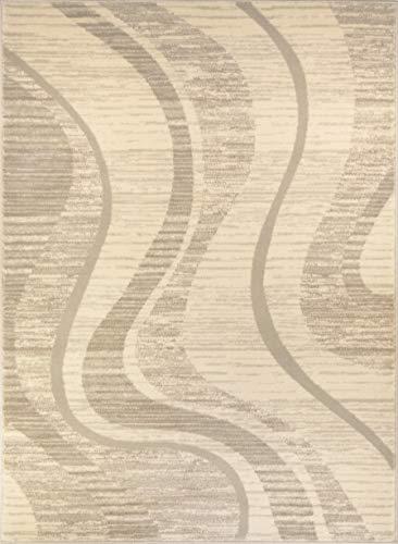ADGO Atlantic Collection Moderne Geometrische Kreise Abstrakt Squares wirbelt Bereich Teppich 2' x 5' 5751a - Ivory Beige - Ivory Square Teppich
