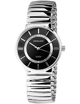 Excellanc Zugband Damenuhr Quartz Uhrwerk Damen Uhr in Farbe Silber Schwarz