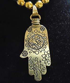 Schöne BIG BRONZE Hand von Fatima Anhänger / Einzigartige gravierte Messing Hamsa Halskette / mit 83cm Choker Halskette Gold Perlen neu mit Tag in USA gemacht 10 Jahre Garantie -