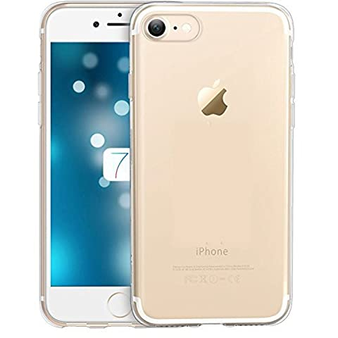Coque de protection pour iPhone 7 CLEAR TRANSPARENT, The Flame Store en silicone (TPU) Lisse Protection Slide Anti Case Complete Ultra-Thin Slim