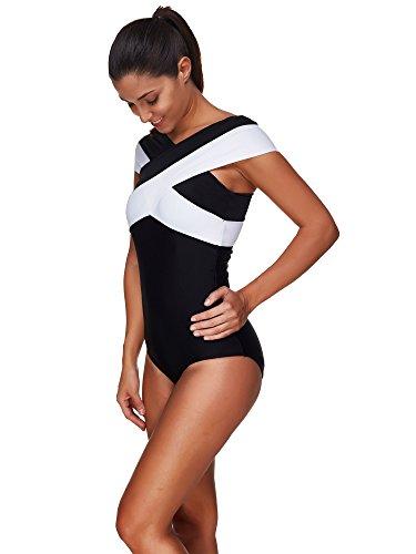 BaronHong Frauen One Piece Badeanzug Badeanzüge Wrap Sommer Schwarz und Weiß Bikini Plus Size Farbe