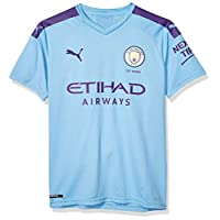 PUMA Men's Standard Manchester City MCFC Shirt Replica with Sponsor Logo JR, Hombre Team Light Blue-Tillandsia Purple, XXL