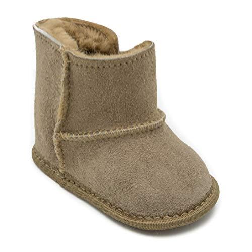 absoft Baby-Schuh Unisex Winter Stiefel 100% natürliche Haut Leder Klettverschluss gemütlich warm für den Winter (S (0-6 Monate), Beige)
