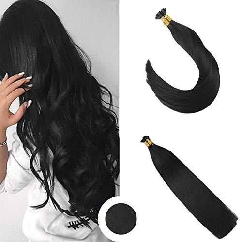 Ugeat Flat Tip Menschlichen Haarverlangerung Jet Black 1# Brasilianisch Glatt Remy Tressen Echthaar 50g 14 zoll/35cm 1g/strahnen -