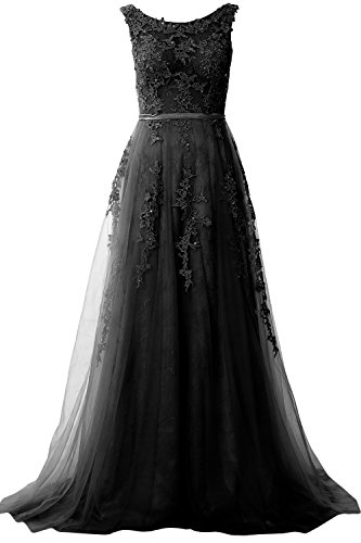 MACloth Elegant Boat Neck Lace Long Prom Dress Vintage Wedding Party Formal Gown Black