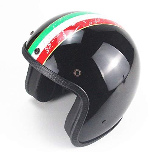 JIA JU Casco Retro Black Personaggio Retro Harley Casco Moto Motor Car 3/4Demi-Casque Italiano Strip, M