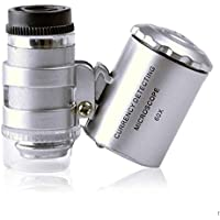 Gankmachine Detector de billetes portátil 60X Lupa de bolsillo mini lupa del microscopio UV joyero lupa con luz LED