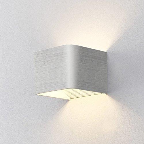 Louvra 5W LED Wandleuchte Innen Moderne Minimaltische Wandlampe Aluminium Up und Down Design für Cafeteria Wohnzimmer Esszimmer Küche Studie Schlafzimmer Flur Treppen, Warmweiß (Schwarz/Weiß)
