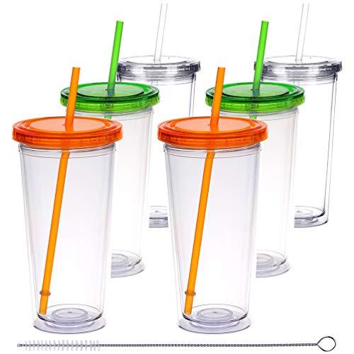 H&F Trinkbecher mit Deckel und Strohhalmen, doppelwandig, Kunststoff, Wiederverwendbare Becher, isoliert, Trinkflaschen, BPA-frei, Wasserbecher-Set 22oz Green orange Gray(6 * 22oz)