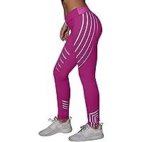 Pantalones de yoga de cintura media para mujer, pantalones de entrenamiento para yoga, fitness, correr, gimnasio, pantalones deportivos elásticos, Mujer, color hot pink, tamaño large